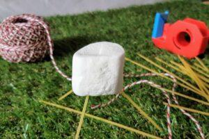 Marshmallow, Spaghetti, Schnur und Klebeband für die Marschmallow-Challenge
